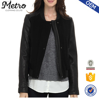 OEM Manufacturer Womens Leather Sleeve Wool Bomber Jacket