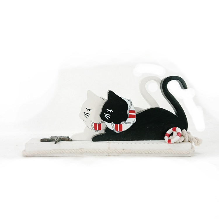 White Cat & Black Cat Design Free Stand Wooden Craft Carve Home Decor & Souvenir & Gift
