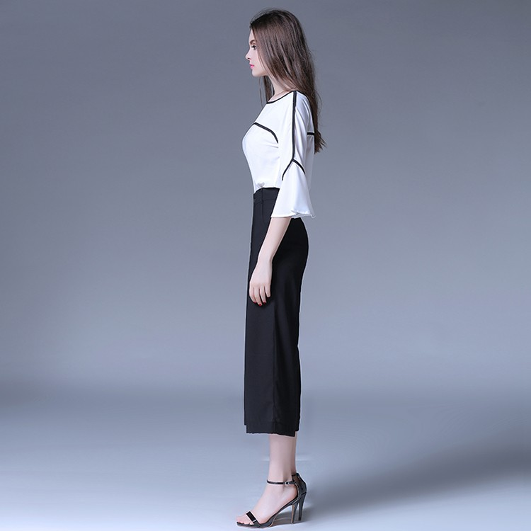 Latest design wide casual pant formal women wear flare sleeve top modern