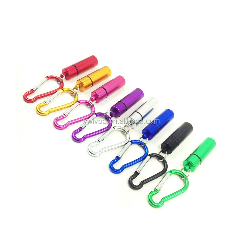 Supply Youch Colorful Mini Aluminum Pill Capsule Case Box Keychain with Carabiner----Accept Custom Logo
