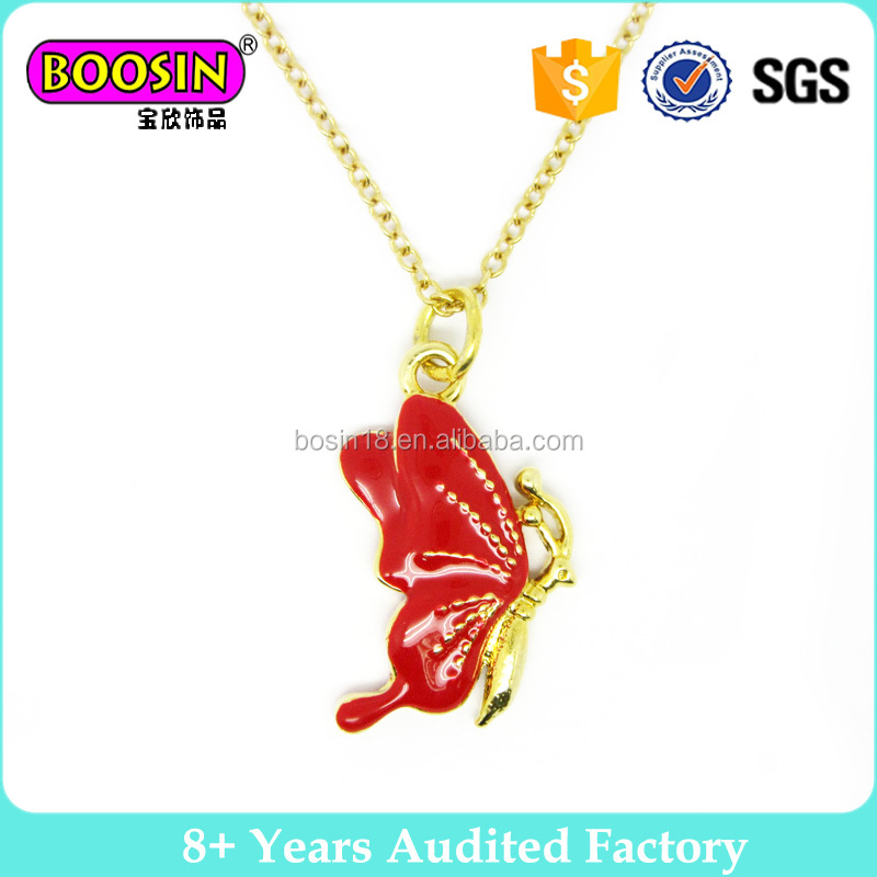 Red Enamel Butterfly Kids Small Gold Pendant Necklace
