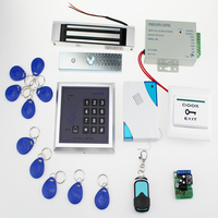 13.56MHz door access control system kit+power supply+magnetic lock+door bell+exit button+remote control+key fobs