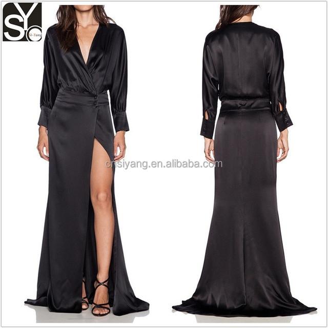 woman sexy satin long dress, plus size night dress sleep dress SYA15102