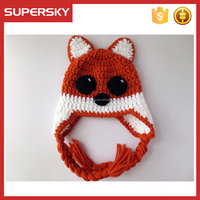 A-602 children knitted hat with earflaps pattern kids fox knitted hat with tassel earflap baby fox knitted beanie hat