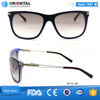 Dark Blue Outside Transparent Blue Inside Acetate Frame with Hollow Out Metal Temples Sunglasses Brand Logo