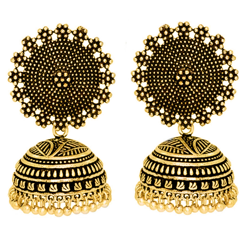 JOJO Fashion jewelry women earring indian style gold jhumka earrings design for women and girls traditional jewellery