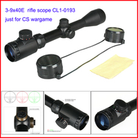 CS wargame riflescope 3-9x40E rifle scope red green illuminated range finder reticle without scope mount for paintball CL1-0193