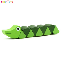 Wooden changeable twist snake toys,Funny DIY wooden twist snake toy,Best sale wooden twist snake toy for kids