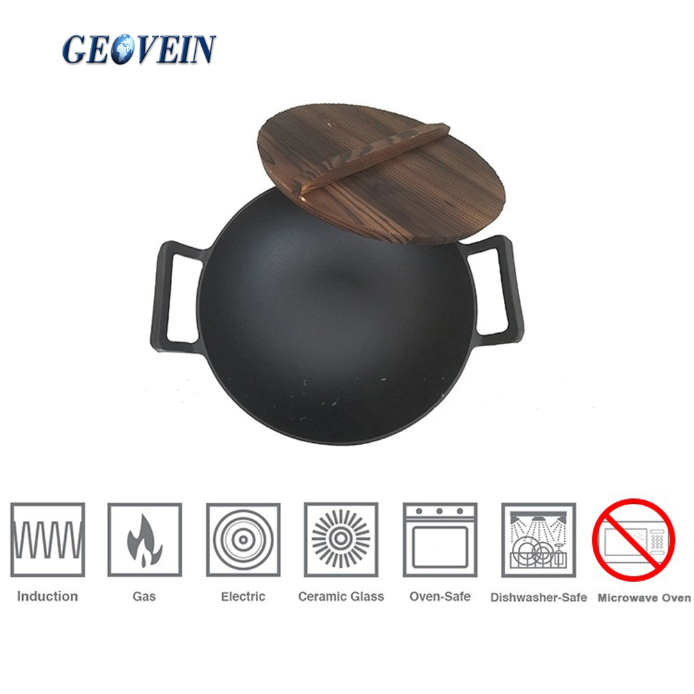 Hot selling nonstick cookware cast iron big wok