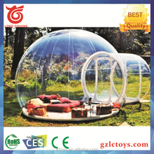 Factory price event lawn crystal transparent camping lodge inflatable bubble tent with tunnels for rent / sale