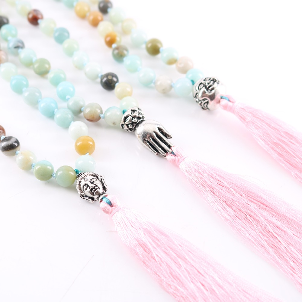 Pink Tassel Pendant Antique Silver Buddha Mala Necklace Blue Agate 8 mm Beads Manual Knotted for Women's Holiday Gifts