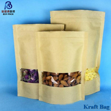 Custom Printed Foil Lined Stand Up Kraft Paper Bag With Clear Window Kraft Paper Food Ziplock Bags For Coffee Bean/rice