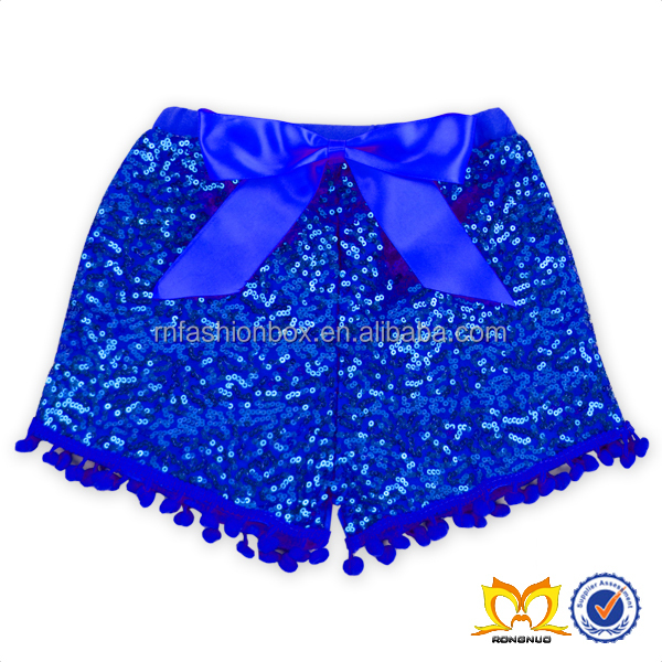 Wholesale Children's Boutique Clothing Sequin Shorts Hairball Bow Sequin Baby Shorts Designs For Kids Baby Girls Sequin Shorts