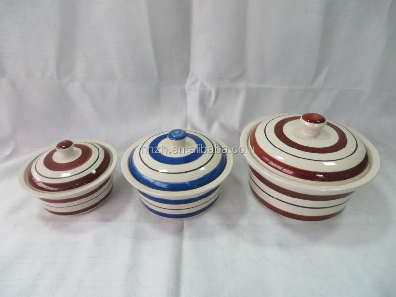 5' 6' 7' 3ps ceramic handpainted pot set with lid