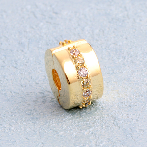 Whosale fashion crystal polish gold plating lock beads