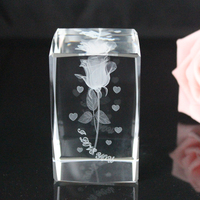 3d laser crystals wholesale romantic rose gift wedding