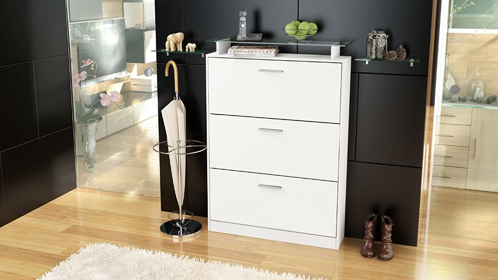 white matt MDF Shoe cabinet 3 drop leaf doors with top display glass