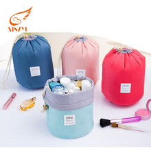Hot Selling Nylon Round Drawstring Cosmetic Bag High Capacity Barrel Shaped Storage Travel Makeup Bag