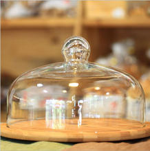 Customize Handblown Glass Cake Dome Cover With Solid Wood Base