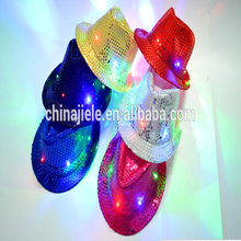 Bling Bling Fashionable led flashing party hats christmas led flashing light up sequin fedora hats with good quality