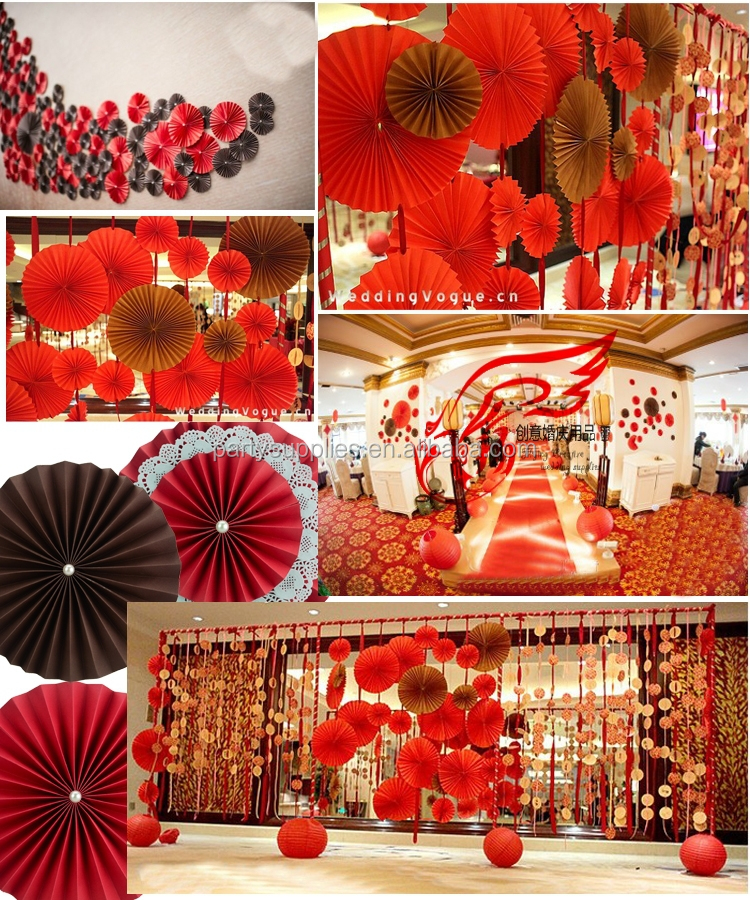 Manufacturer of paper fan double layers decorations for Baby shower stage decoration