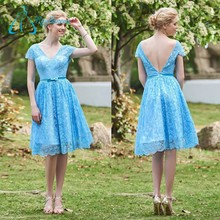 High Quality Knee Length Lace A-Line Blue Bridesmaid Dresses