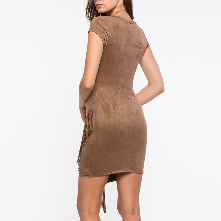 Fashion Tan Suede Dresses for Women Short Sleeve Bodycon Fringed Suede Dress