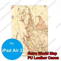 Retro World Map Pattern Notebook Design PU Leather Smart Stand Case Cover For iPad Air 2