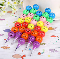 Smiley Cartoon Stationery Pencils Children Gift Rainbow Pen With Funny Faces
