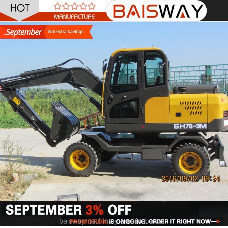 earth moving machinery 8 ton wheel excavator