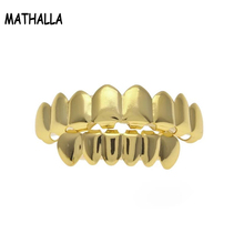 Hiphop Gold Plated 8 Top Teeth and 6 Bottom Teeth Plain Men's Hip Hop Teeth Grillz Set Homme
