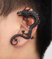 Black Horned Dragon Ear Cuff,Fashion Black Jewelry Cuff Earrings In Yi Wu