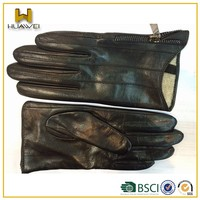 14w-052 Design Women leather gloves with zipper on flank cuff
