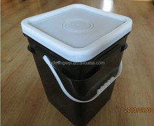5 Gallon Square Food Grade Plastic Bucket Handled Pail with Lid