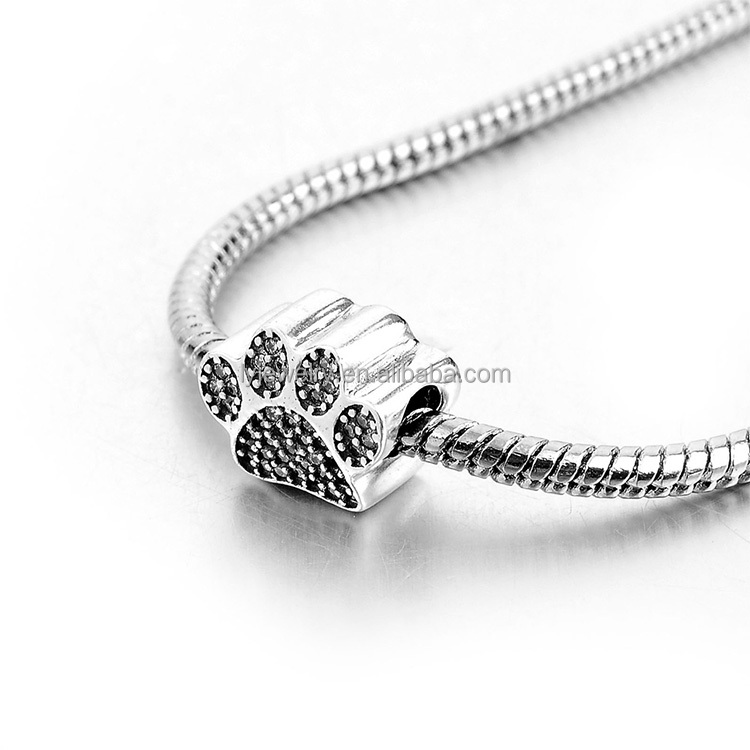 lyb07217 Fashion 925 Sterling Silver Black CZ Cute Dog Footprint European Charms for Beads Bracelet