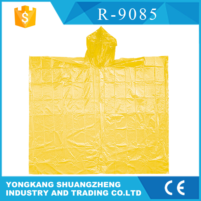 0.02mm one time use transparent pe rain poncho