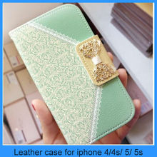 Wallet case for iphone 5 Wallet Card Holder PU Leather Phone Flip Case Cover for Apple IPhone4 4S 5 5S 5C(PT-I5L291)