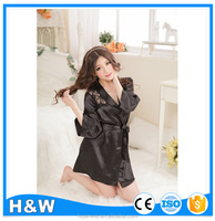 Hot Lingerie mature women sexy Lace Black Sleepwear Robe sex products