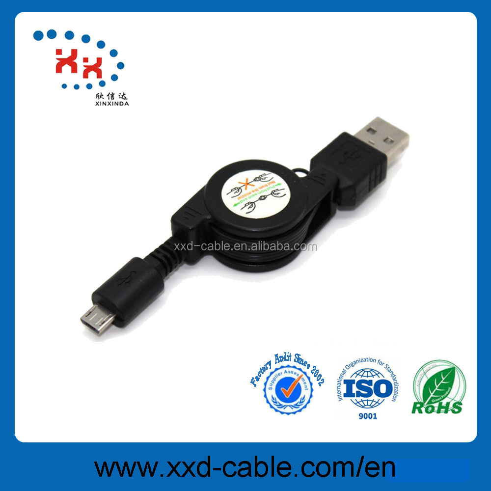 High Speed USB2.0 AM TO Micro retractable CABLE,smart phone charge&date wire