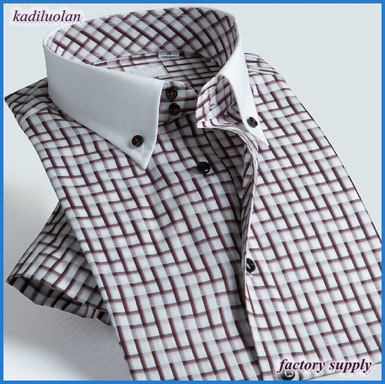 European style business casual men red plaids shirt 100% cotton brushed slim fit shirt