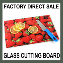 wholesale smooth kitchen tempered glass cutting board 30x20cm