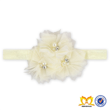 Hot Sale Ivory Chiffon Flower Hairbands Triple Shabby Flower Headband Baby Rhinestone Headbands Wholesale