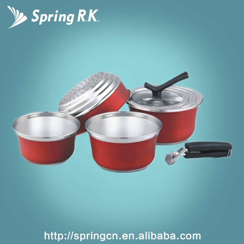 Europe-style 6 pcs 6 Pcs Colorful Stainless Steel Cookware Set