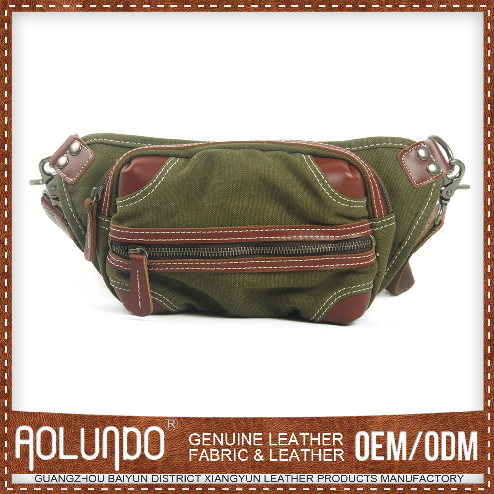 Low Cost Fashion Style Canvas & Leather Mini Sport Waist Bag Pouch