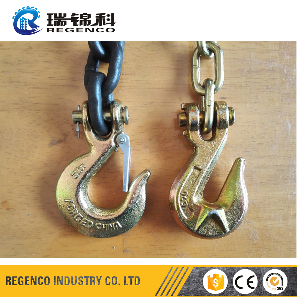 High Strength Alloy Steel G80 G70 Drop Forged Hoist Latch Grab Clevis Brass Crane Hook Chain Hook