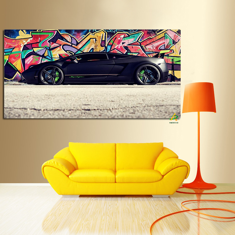 Factory Price Super car black color graffiti art picture printed on canvas for house decoration