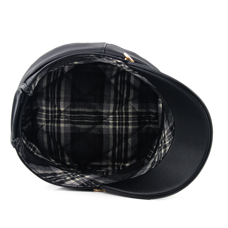 Custom PU leather fabric checked lining army military caps hats with self fabric strap hook and loop adjuster for lady woman