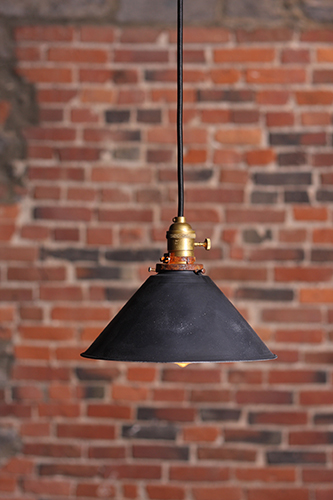 The Beckett Industrial pendant lamp with small metal shade. Lamp is UL listed