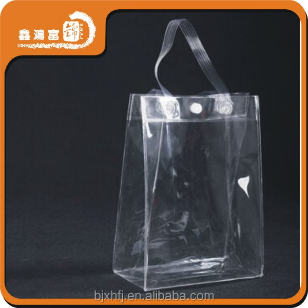 Custom logo waterproof shopping clear pvc cosmetic handles plastic bag with snap button