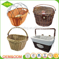 Wholesale custom Eco-friendly handmade durable wicker quality removable bicycle basket